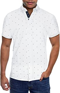 Mens Slim Fit Short Sleeve Button Down Polo Tech Stretch Printed Oxford Shirt