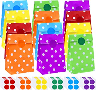 Cooraby 60 Pieces Dot Paper Bags Party Paper Bags Grocery Bags Flat Bottom Bags with 96 Pieces Stickers for Party Supplies