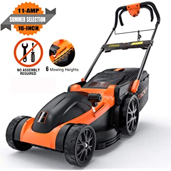 TACKLIFE Electric Lawn Mower, 16-Inch 11Amp Corded Lawn Mower, 6 Mowing Heights, Central Adjustment System, Easy Folding in 5s, 16Gal Grass Box, 10-Inch Rear Wheels & Save Effort–KALM1340A