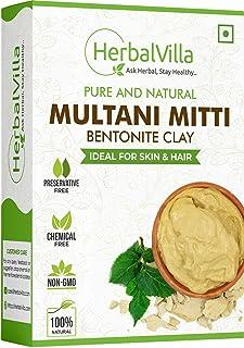 Herbalvilla 100% Natural Multani Mitti powder for Face Pack | Fuller's Earth , Bentonite Clay (200 Grams)