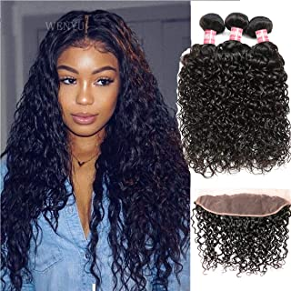WENYU Brazilian Water Wave Human Hair 3 Bundles with Frontal Lace Closure 13x4 Ear to Ear Lace Frontal with Bundles Wet and Wavy Deep Wave Curly