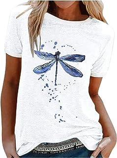 Xmiral T-shirt met korte mouwen voor vrouwen schattig vlinder bedrukt shirt ronde hals zomer tops