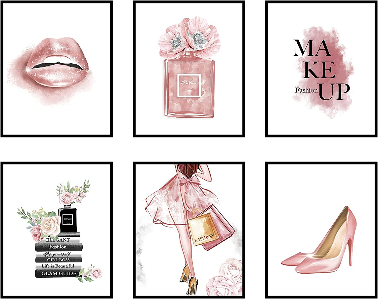 Glam Pink Fashion Wall Art Girls Room Decor Wall Pink Golden Fashion Shopping lady Perfume Flower Book High Heels Posters Prints Women Decor Bedroom (8x10 in Unframed) (8x10 in, Pink)