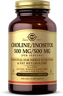 Solgar Choline/Inositol 500 mg/500 mg, 100 Vegetable Capsules - Energy Metabolism, Liver Health, Essential for Brain & Ner...