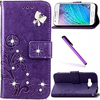 Galaxy J1 Ace Case LEECOCO Bling Crystal Diamonds Lucky Clover Floral with Card Cash Slots Wrist Strap Flip Kicktand PU Leather Wallet Case Cover for Samsung Galaxy J1 Ace Diamond Clover Purple