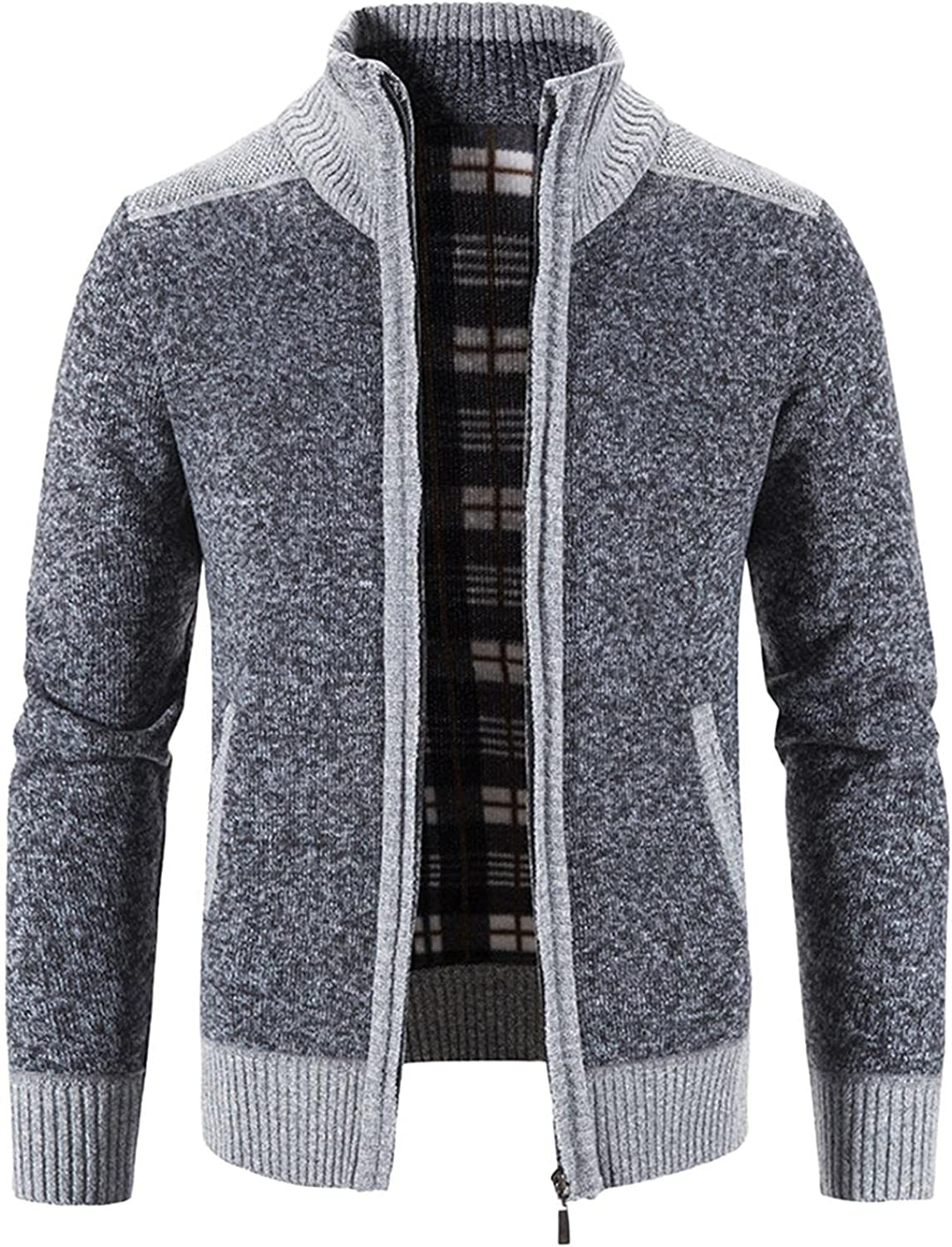 Men's Full Zip Cardigan Sweater Slim Stitching Color Stand Collar Cotton Cable Knitted Sweater Jacket Outwear Fall Coats