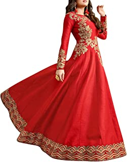 Ethnic Empire Women's Fantam Semi Stitched Anarkali Salwar Suits (Dharuva_Erty10774_Red)