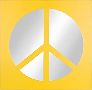 Kate and Laurel Peace Sign Icon Square Wall Accent Mirror, Yellow