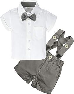 BIG ELEPHANT Baby Boys 2 Pieces Short Sleeve Shirt Suspender Shorts Set