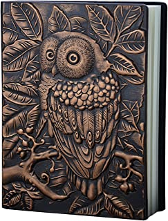 Dolce Na The Embossed Leather Journal(Engraved Leather Journal) Handcraft Embossed Owl Notebook, Bronze