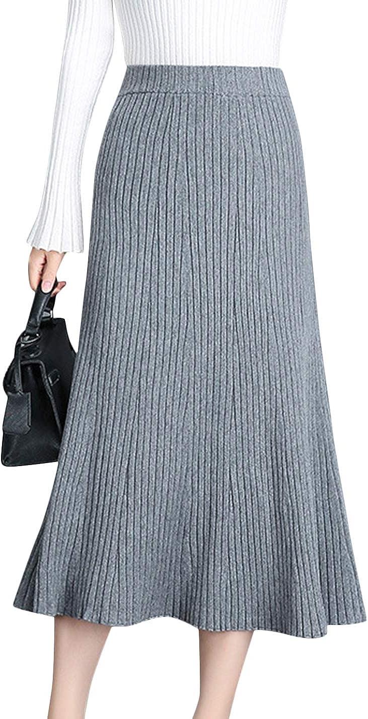 Uaneo Women's Casual High Waist Pleated Knit Midi Long Skirt