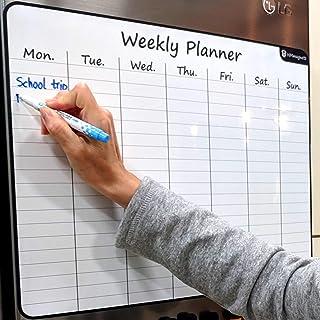 "Large 17.5""x13.5"" Dry-Erase Magnetic Weekly Calendar (Organizer/Planner) for Kitchen Fridge (Full Set: 8 Markers + Eraser)... photo"