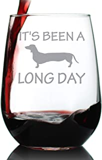 Long Day – Cute Funny Dachshund Stemless Wine Glass, Large 17 Ounces, Etched Sayings, Gift Box
