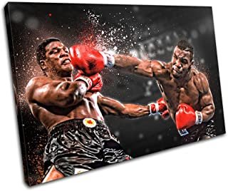 Bold Bloc Design - Boxing Mike Tyson Sports 60x40cm Single Canvas Art Print Box Framed Picture Wall Hanging - Hand Made in The UK - Framed and Ready to Hang
