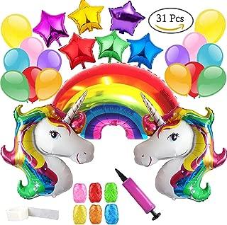 Clerfy Acc Unicornio y Arco Iris Globo de Cumpleaños Kit-de Fiesta de Cumpleaños Feliz Suministros con Globos de Unicornio Banner de Cumpleaños de Arco Iris, Gran Regalo Para Niños y Amigo