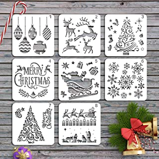 JINSEY Christmas Stencils Templates - 8pcs Merry Christmas, Stanta Claus, Snowflakes, Tree, Balls, Reindeers, Gift Boxes for Christmas Holiday Craft Decorations 5 x 5 inches Cookie Stencils