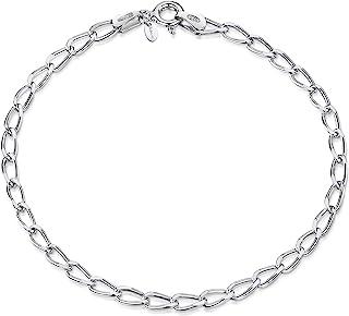 Amberta - Pulsera de Cadena para Mujer en Plata de Ley 925 con Eslabones Ovalados para Charms (20 cm Ajustable)