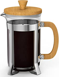 Vremi French Press - 8 Cup Coffee Maker Premium Heat Resistant Borosilicate Glass Pot - 2 Quart Pitcher with Stainless Steel Bamboo Frame - Micro Mesh Plunger Presser Filter for Ground Coffee or Tea