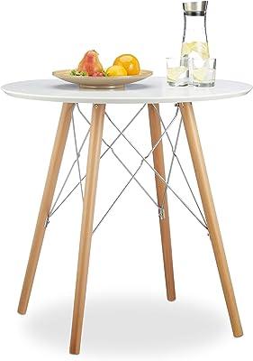 Relaxdays Table de cuisine petite ronde HxlxP: 75 x 75 x 75 cm style nordique scandinave table à manger, blanc