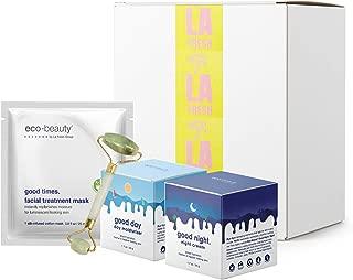 LA Fresh Eco Beauty - 4 Piece Natural Face Moisturizing Starter Kit | Day Moisturizer 1.7oz, Night Cream 1.7oz, Jade Roller, LA Fresh Travel Wipes | Hydrating, Smoothing and Plumping