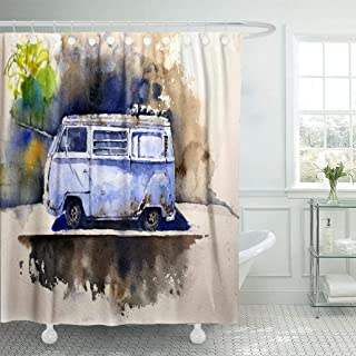 KJONG Watercolor-Camper Bathroom Shower Curtains 72X78 Inches Watercolor Retro Bus Drawn Volkswagen Hippie Van Vehicle Waterproof Fabric Bathroom Curtain Set of Hooks