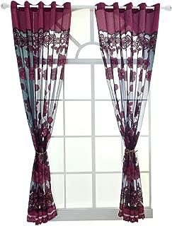 Ivolador Flower Tulle Door Window Curtain Drape Panel Sheer Scarf Decor Valances 4 Colors (Dark Purple)
