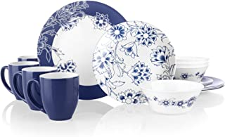 Corelle Boutique Indigo Blooms 16-Piece Chip Resistant Dinnerware Set, Service for 4