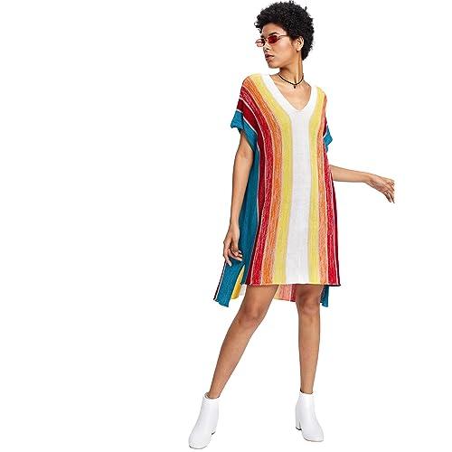 4ae2ee29311 Romwe Women s Short Sleeve Top Loose Fit Striped Color Block Rainbow Print  Step Hem Dress