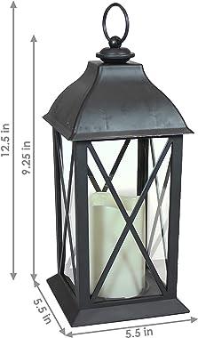 Sunnydaze Lexington Indoor Decorative LED Candle Lantern - Rustic Vintage Flameless Light for Living Room, Kitchen, and Bedro