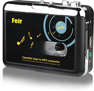 Feir Cassette Converter Portable Cassette to MP3 Converter Stereo USB Cassette Digital Tape MP3 Music Player to MP3 Format with Headphones No PC Required