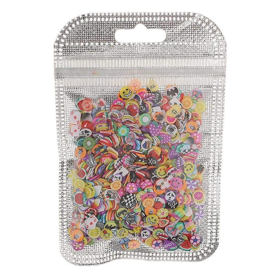 しおれた汚い学生Perfeclan ネイルアート フルーツ スライス ポリマー ステッカー ネイル 装飾 約1000枚 直径約5mm - 混合スタイル