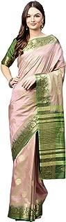 AKHILAM Women's Silk Blend Saree with Unstitched Blouse Piece (Purple_Free Size)