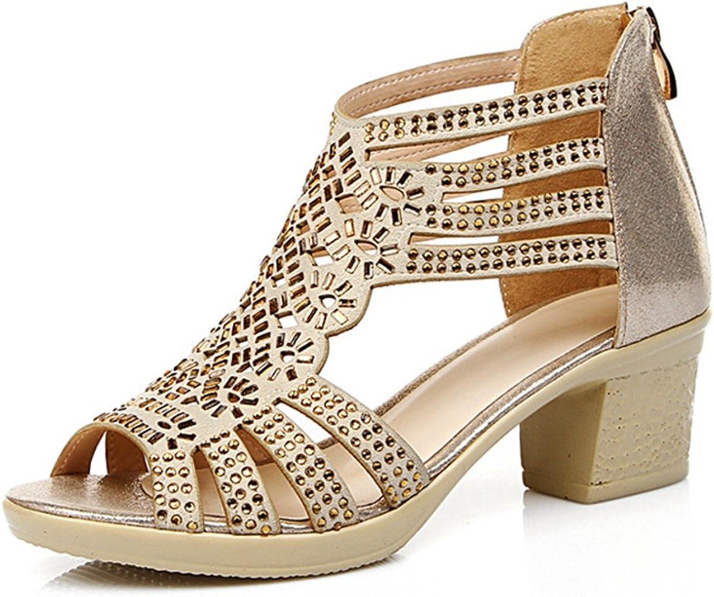 49dd71372611d GIY Women's Gladiator Sandals Platform Open Toe Zipper Low Chunky ...