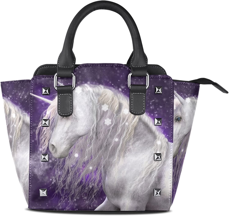 My Little Nest Women's Top Handle Satchel Handbag Beautiful White Unicorn Ladies PU Leather Shoulder Bag Crossbody Bag