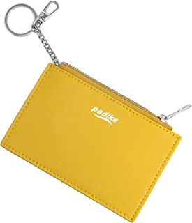 Padike Women's Coin Purse Change Wallet Pouch Leather Card Holder with Key Chain Tassel Zip/Wallet Coin Purse Keychain (Yellow)