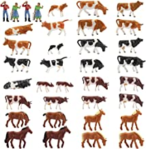 Farm Animals Figure Toys Set,AN8707 36PCS 1:87 Well Painted Farm Animals Cows Horses Figures for HO Scale Model Train Scenery Layout Miniature Landscape New