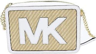 Michael Kors Straw Python Capsule JSI Large EW Crossbody Handbag Optic White
