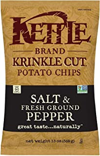 Kettle Brand Potato Chips, Krinkle Cut Salt and Pepper Bags, 13 Ounce (Pack of 5)