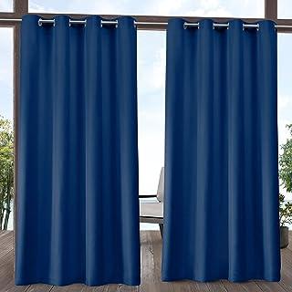 (azure, 54x96) - Exclusive Home Delano Indoor/Outdoor Grommet Top Curtain Panel Pair