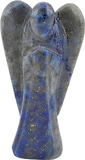 Crocon Lapis Lazuli Gemstone Orgone Carved Angel for Energy Generator Chakra Stone Balancing Reiki Healing Feng Shui Spiritual Devotional Figurine Home Office Decor Size: 2-2.5 Inch