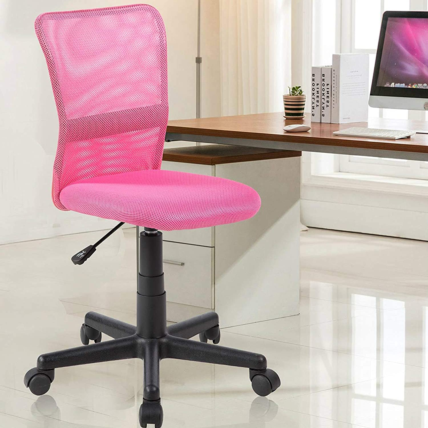 NORDIN Kids Desk Chair for Girls Adjustable Ergonomic Mid Back Mesh Office Student Study Computer Task Chair Pink