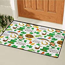 GUUVOR St. Patricks Day Welcome Door mat Irish Party Pattern Beer Leprechaun Flag Hearts Rainbow Gold and Shamrock Door mat is odorless and Durable W23.6 x L35.4 Inch Multicolor
