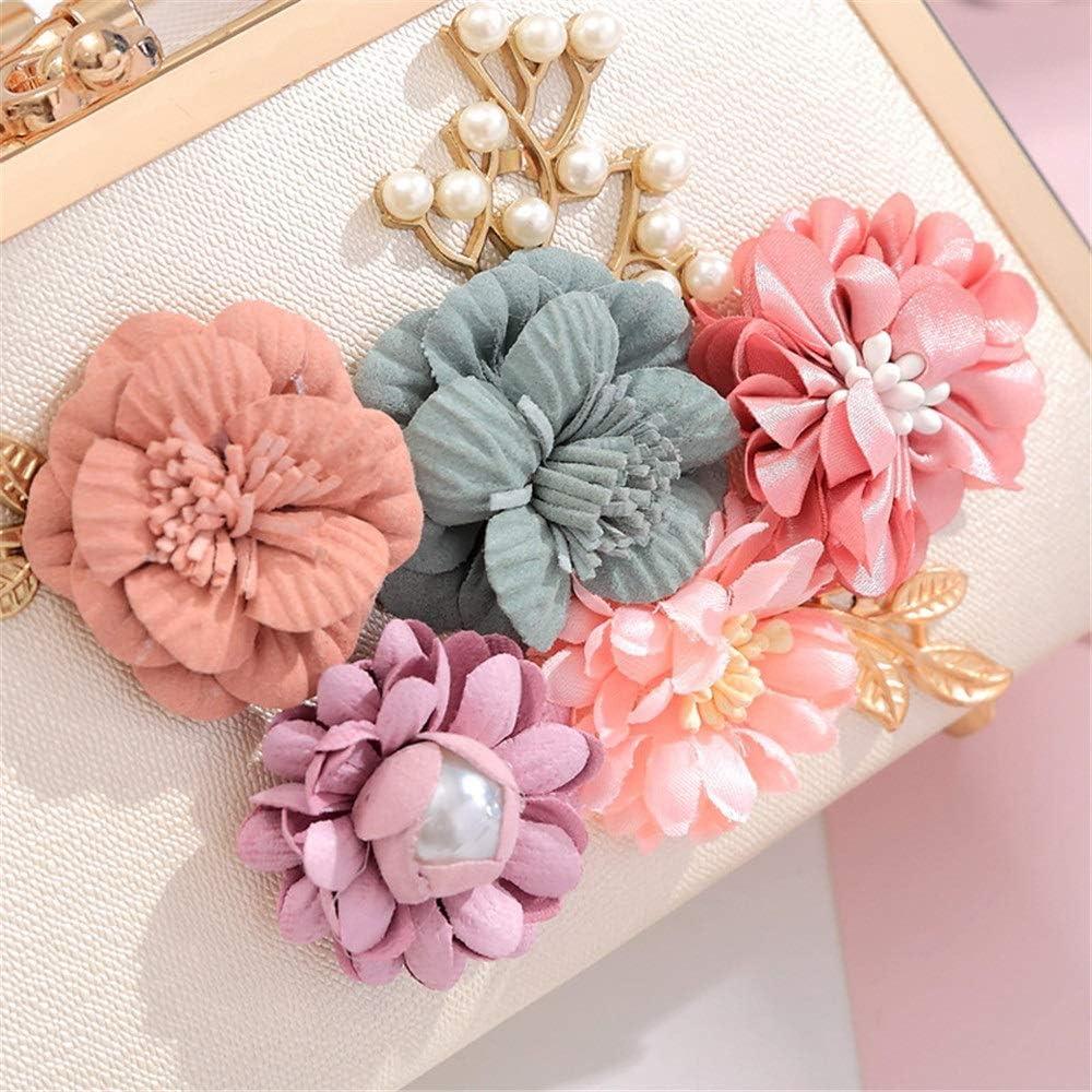 Yuqianqian Pochette de Soirée pour Femme Sac à Main de soirée Femme Fleur rétro perlée perlée Mariage Sac à bandoulière de Mariage avec poignée (Color : Purple) White