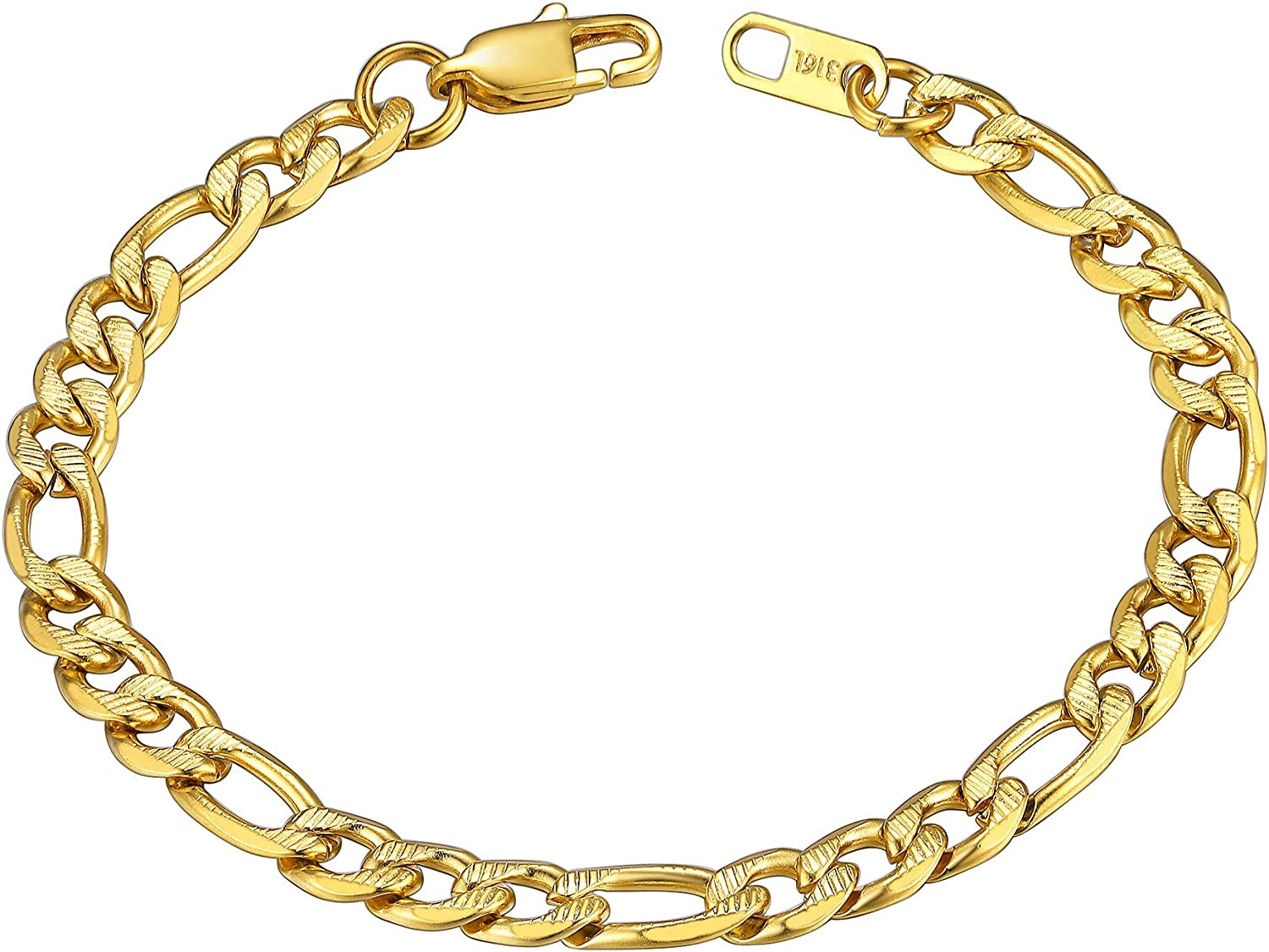 ChainsHouse Figaro 2021new shipping free Link Chain Bracelet Steel 18K Max 44% OFF Stainless Black