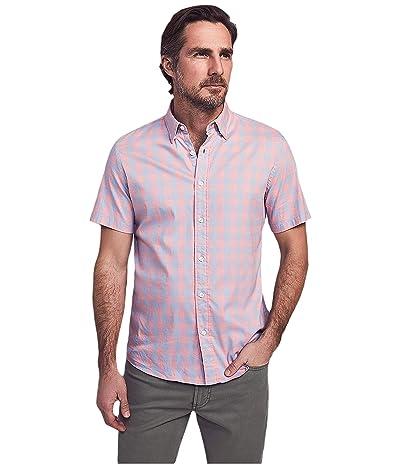 Faherty Short Sleeve Movement Shirt (Blue/Rose Check) Men