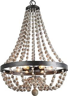LALUZ 6-Light Wood Bead Empire Chandelier, Pendant Lighting Fixture for Kitchen Island, Natural Wood Beads, 28.3