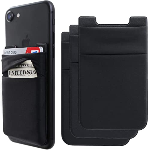 Phone Card Holder Stretchy Lycra Wallet Pocket Credit Card ID Case Pouch Sleeve Adhesive Sticker Compatible with iPho...