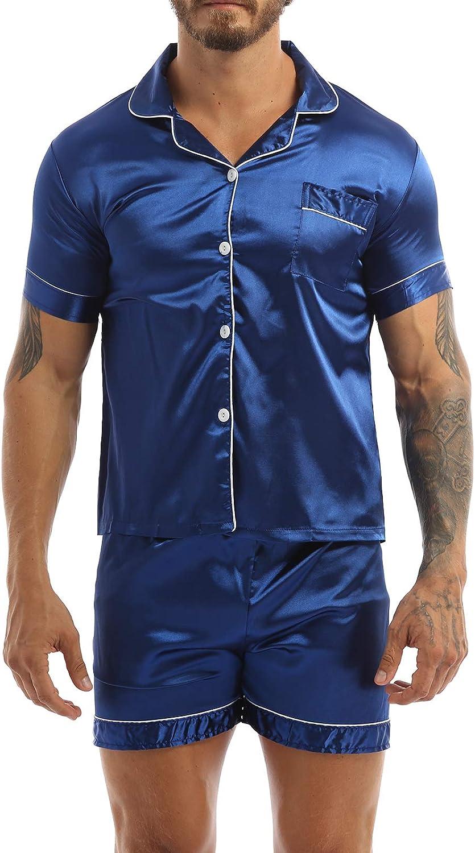 Shinsto Men's Satin Pajamas Set Short Sleeve Nightshirt Top with Boxer Shorts Sleepwear Loungewear
