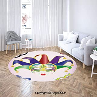 AngelDOU Non-Slip Backing Machine Washable Round Area Rug Abstract Style Illustration of Christmas Carnival Masks Jester Design Print Floor Mat for Living Room Bedroom