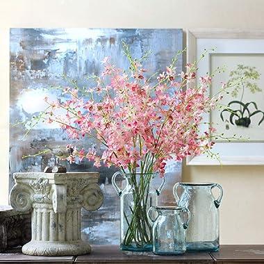 Flower Vase Glass Elegant Double Ear Decorative Handmade Air Bubbles Bluish Color Glass Vase for Centerpiece Home Decor (Larg